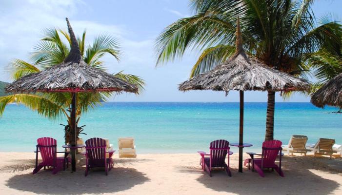 visuale della spiaggia con palme e ombrelloni in paglia in riva al mare