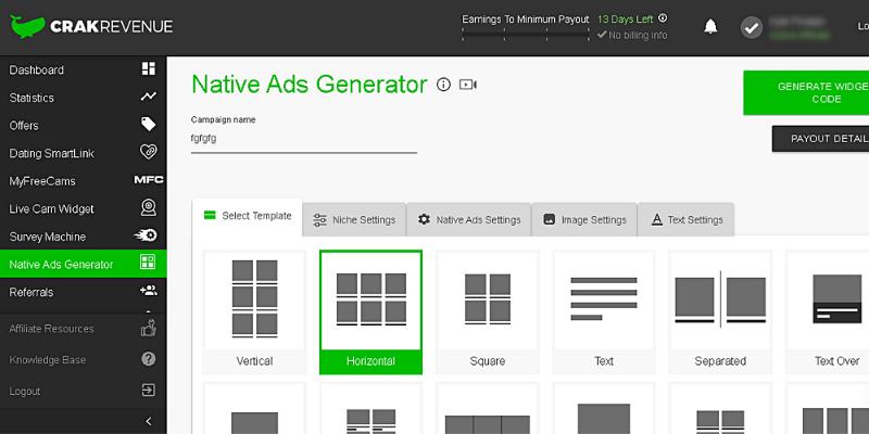 Native Ads Generator di CrackRevenue - affiliazione adult porno di CrackRevenue