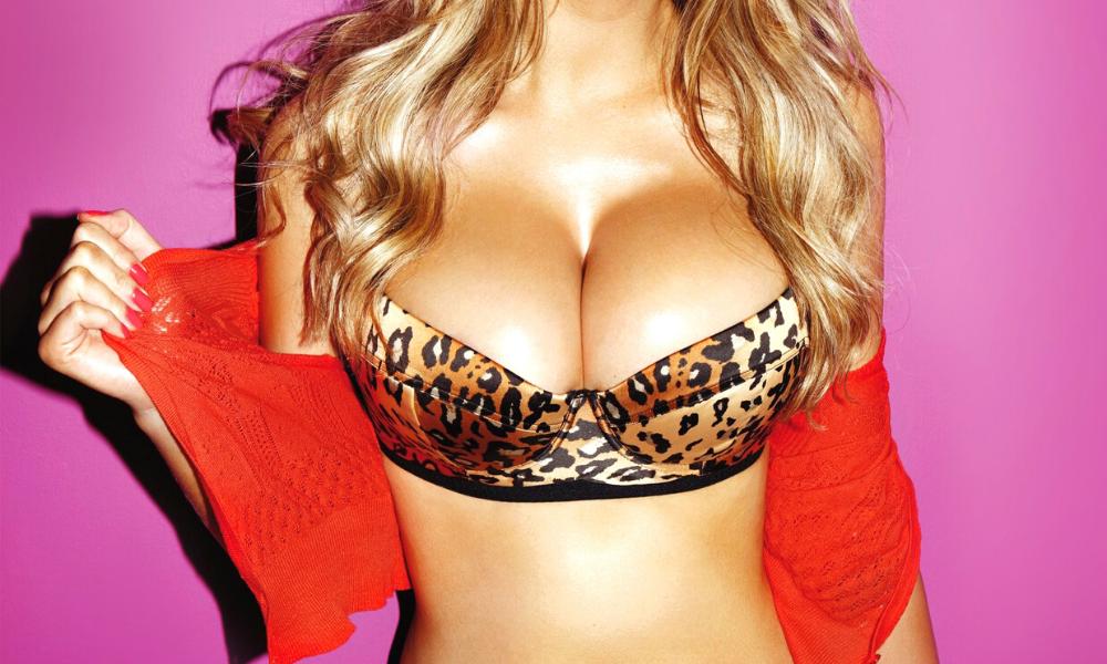 busto di donna con seno grande e reggiseno leopardato